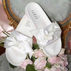 Puma Shoes | X Fenty White Bow Slides